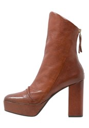 Bruno Premi High Heeled Ankle Boots Cognac