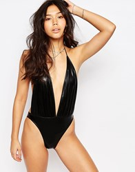 Motel Metallic Black Swimsuit Metallic