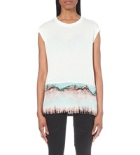 Allsaints Crystal Brooke Jersey T Shirt Smog White