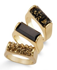 Thalia Sodi Gold Tone Jet Speckled Ring Set Only At Macy's Jet Gold