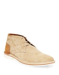 Steve Madden Hendric Perforated Suede Chukka Boots Tan