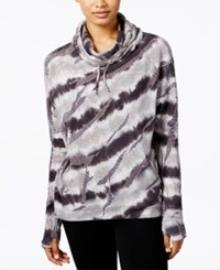 Betsey Johnson Tie Dyed Funnel Neck Sweatshirt Charcoal White