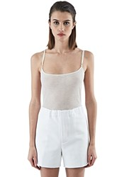 Saint Laurent Fine Ribbed Cami Top White