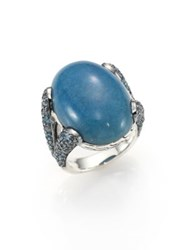 John Hardy Classic Chain Blue Quartz Swiss Blue Topaz And Sterling Silver Ring Silver Blue Topaz