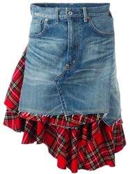 Comme Des Garcons Junya Watanabe Plaid Inset Denim Skirt Blue