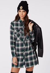 Missguided Emerey Oversized Shirt Dress Green Tartan