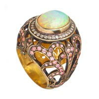 Queensbee Star Ring Opal Pink Purple
