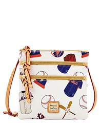 Dooney And Bourke Ny Mets Coated Cotton Triple Zip Crossbody Bag White