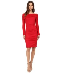 Nicole Miller Ponte Off Shoulder Tucked Dress Lipstick Red Women's Dress