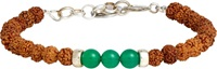 Caputo And Co Rudraksha Green Agate And Silver Bead Bracelet Brown