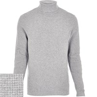 River Island Mens Light Grey Textured Roll Neck Jumper