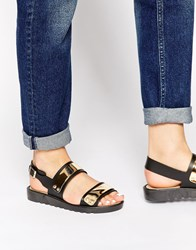 Park Lane Metal Chunky Flat Sandals Black