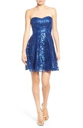 Junior Women's A. Drea Sequin Strapless Fit And Flare Dress