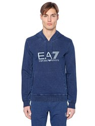 Emporio Armani Hooded Denim Effect Cotton Sweatshirt