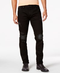 Guess Destroyed And Pintucked Slim Fit Tapered Jeans