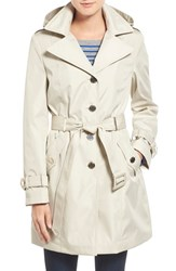 Calvin Klein Petite Women's Single Breasted Belted Trench Coat Buff