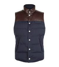Brunello Cucinelli Quilted Leather Yoke Gilet Male Navy