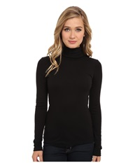 Splendid 1X1 Long Sleeve Turtleneck Black Women's Long Sleeve Pullover