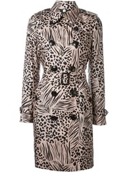 Burberry London Animal Print Trench Coat Nude And Neutrals