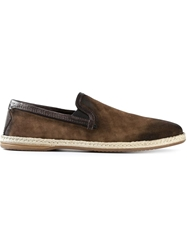 Dolce And Gabbana Distressed Espadrilles Brown