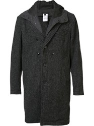 Engineered Garments Layered Buttoned Hooded Coat Grey