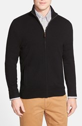 Men's Big And Tall John W. Nordstrom Full Zip Cashmere Sweater With Faux Suede Elbow Patches Black