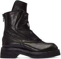 Julius Black Leather Lace Up Boots