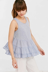 Cooperative Tiered Tank Top Blue