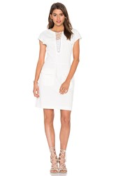 The Kooples Lace Up Front Dress White