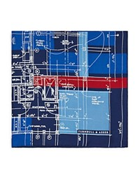 Turnbull And Asser Construction Plan Pocket Square Navy