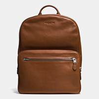Coach Hudson Backpack In Sport Calf Leather Silver Dark Saddle