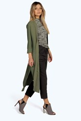 Boohoo Turn Up Cuff Duster Coat Khaki