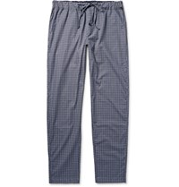 Hanro Checked Cotton Pyjama Trouer Blue