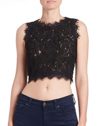 Design Lab Lord And Taylor Sleeveless Crochet Lace Crop Top Black