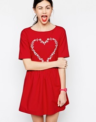Love Moschino Short Sleeve Skater Dress With Embellished Heart Red