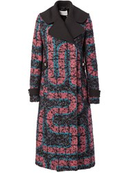 Peter Pilotto Zigzag Pattern Concealed Fastening Coat Blue