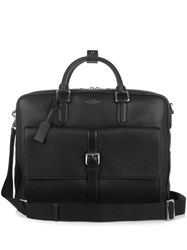 Smythson Burlington Large Leather Briefcase Bag Black