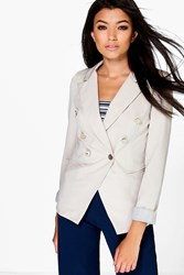 Boohoo Double Breasted Woven Blazer Stone