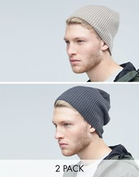 Asos Slouchy Beanie 2 Pack In Grey Multi