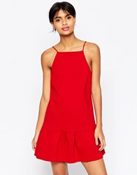 Asos Dress With Dropped Puff Hem Red
