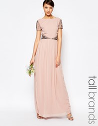 Maya Tall Maxi Cap Sleeve Maxi Dress With Embellished Waist Detail Mauve Pink
