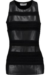 Bailey 44 Paneled Faux Leather And Stretch Jersey Tank Black