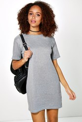Boohoo Ribbed T Shirt Shift Dress Grey Marl