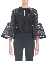 Carolina Herrera Bell Sleeve Lace Jacket With Bow Black