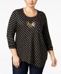 Ny Collection Plus Size Striped Asymmetric Top Jet Patrol