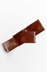 Bosca Id Flap Leather Bifold Wallet Amber