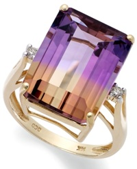 Macy's 14K Gold Ring Ametrine 10 Ct. T.W. And Diamond Accent Emerald Cut Ring Multi