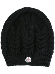 Moncler Cable Knit Beanie Hat Black