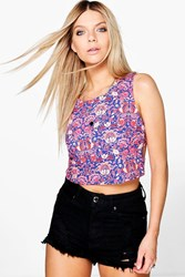 Boohoo Woven Printed Cage Back Crop Multi