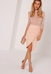 Missguided Asymmetric Ruched Side Midi Skirt Nude Beige